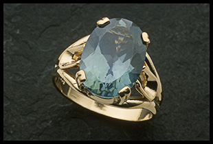Oval Deco Design Ring with Blue Spinel Stone